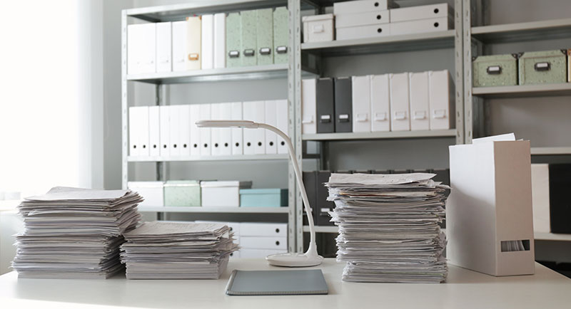 Clean Office with Organized Papers on desk